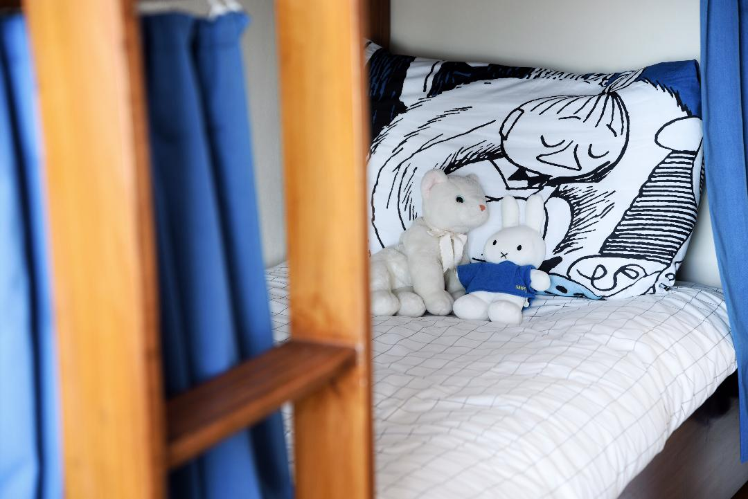 Moomins, Miffy, Little My, moomin themed materials, white cat soft toy, bottom bunk, snug bedroom