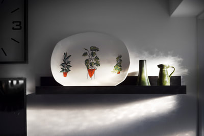 Terence conran plate, midwinter ceramics, French turgis pottery, green ceramics, cheeseplant design ceramics